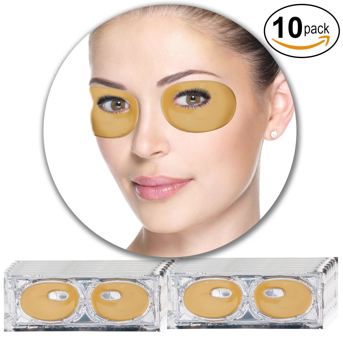 Anti Aging Treatments Set / Kit of 10 Pairs Eyes / Eyelids 24 K Gold / Golden Collagen Gel Crystal Masks / Patches / Pads for Wrinkles / Crows Feet, Dark Circles and Puffiness / Puffy Eyes Removal and Moisturizing VAGA