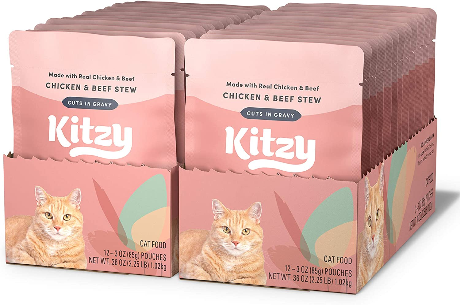 Amazon Brand - Kitzy Wet Cat Topper, Cuts in Gravy, No Added Grain, 3 oz (Pack of 24)