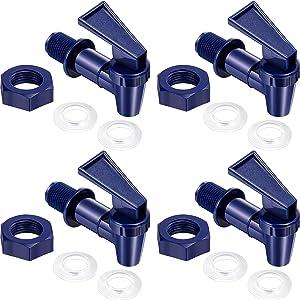 4 Sets BPA-Free Replacement Cooler Faucet Water Bottle Jug, Dispenser Tap Set, Reusable Spigot Spout Water Beverage Lever Pour Dispenser Valve Water Crock Tap (Deep Blue)