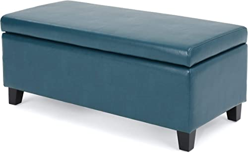 Christopher Knight Home Breanna Leather Storage Ottoman, Teal