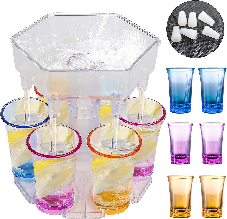 6 Shot Glass Dispenser,Bar Shot Dispenser,Drink Dispenser and Holder with Stoppers,6 Shot Dispenser with Glasses, Cocktail Dispenser for Filling Liquids, Beverage Dispenser for Party,Transparent