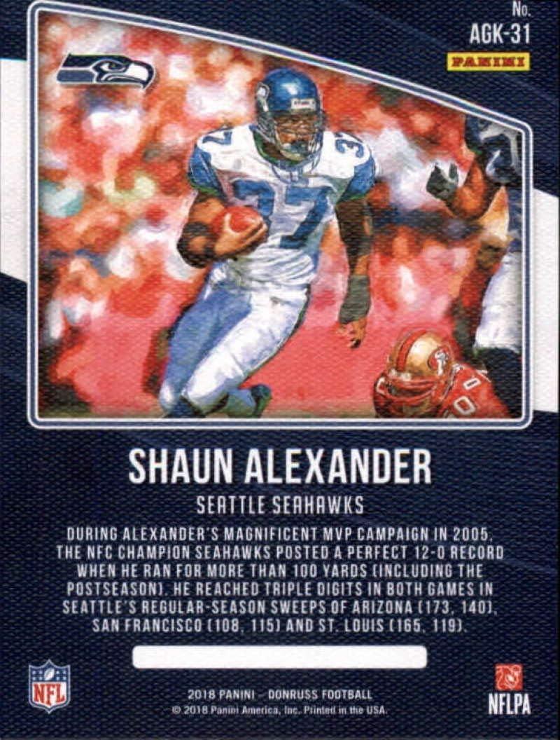 2018 Donruss All-Time Gridiron Kings #31 Shaun Alexander Seahawks Football Card NM-MT