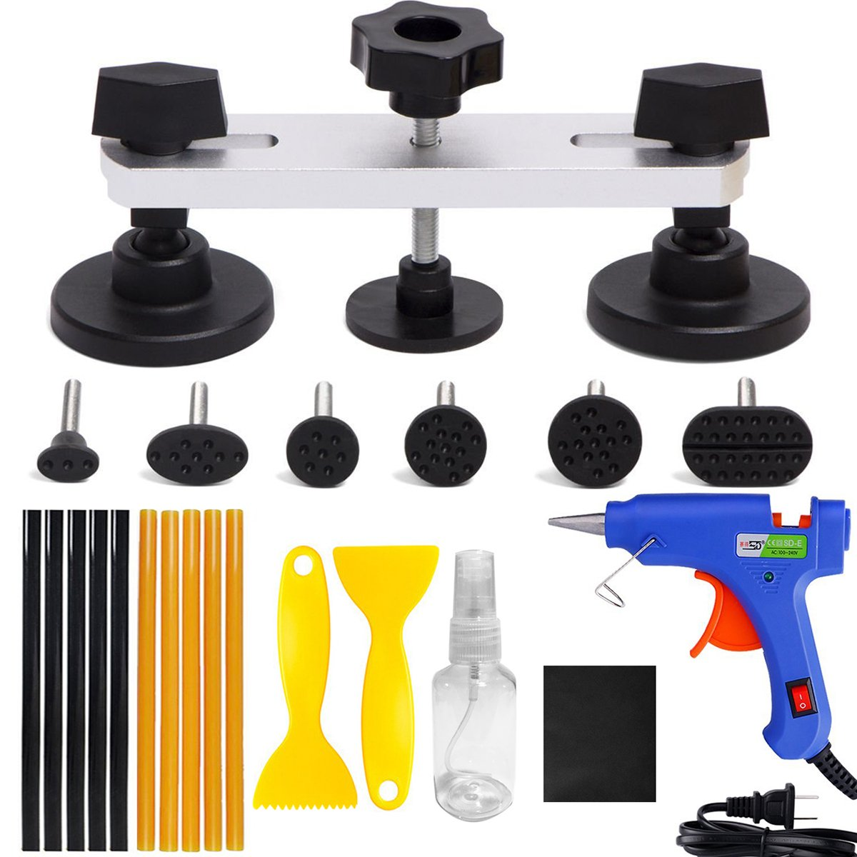 ARISD 22PCS Auto Body Paintless Dent Removal Tools Kit Bridge Dent Puller Kits with Hot Melt Glue Gun PDR Tools