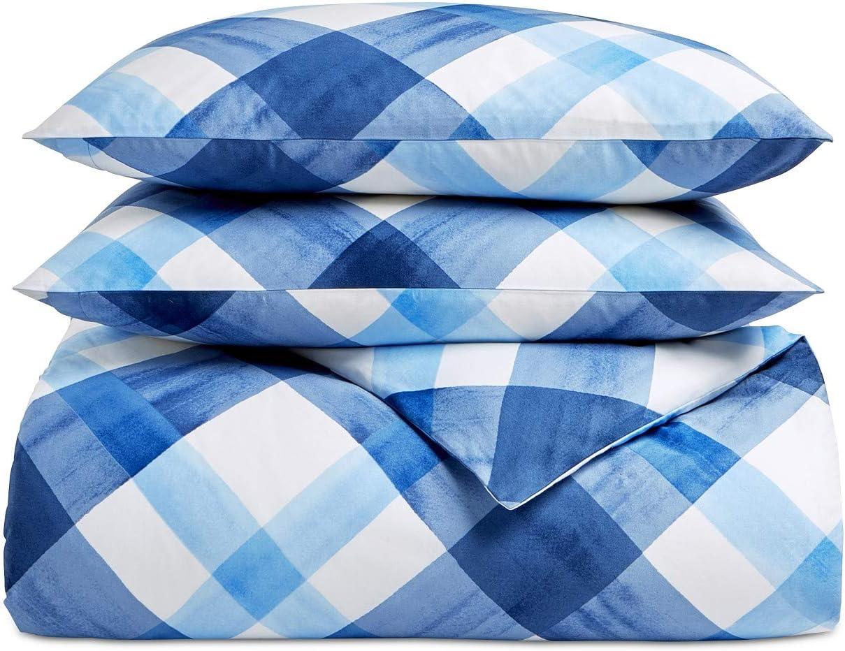 Charter Club Damask Designs Painted Plaid 3 Piece Full Queen Pima Cotton Duvet Cover Set Blue