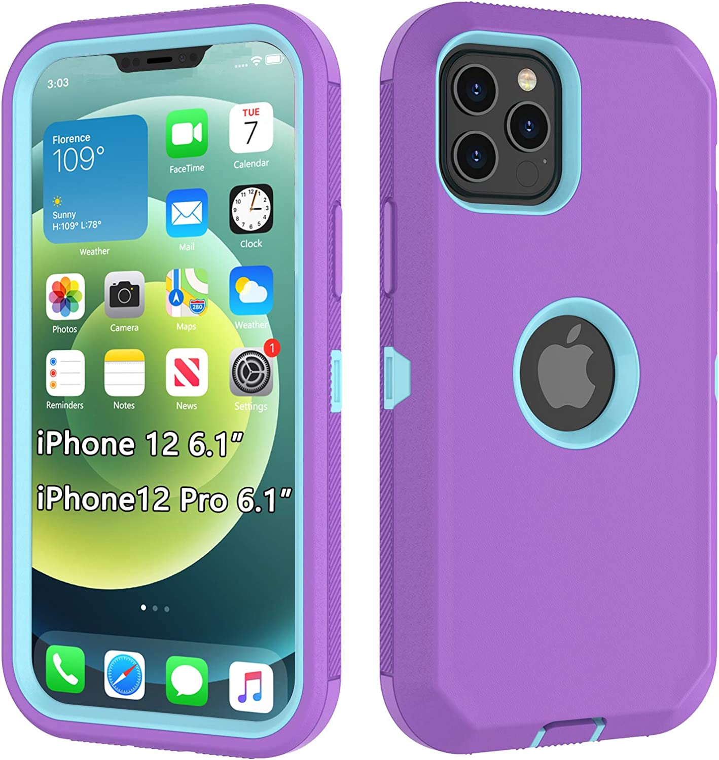 TKHope Rugged Bumper Compatible with iPhone 12 Mini Case, Shockproof Protective Phone Case Cover 5G (6.4 inches) 2020[Purple/Mint Green]