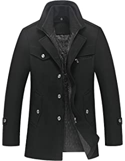 d54b1f01f5b chouyatou Men s Gentle Layered Collar Single Breasted Quilted Lined Wool  Blend Pea Coats