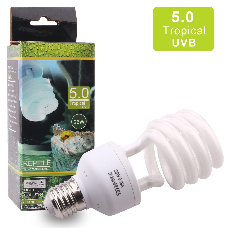 5.0 UVB UVA Lampadina compatta e fluorescente per rettili 220-240V 26W Alta uscita UVB tropicale per anfibio piante succulente lucertola tartaruga migliorare la sintesi di D3 aumentare l'assorbimento del calico AIICIOO