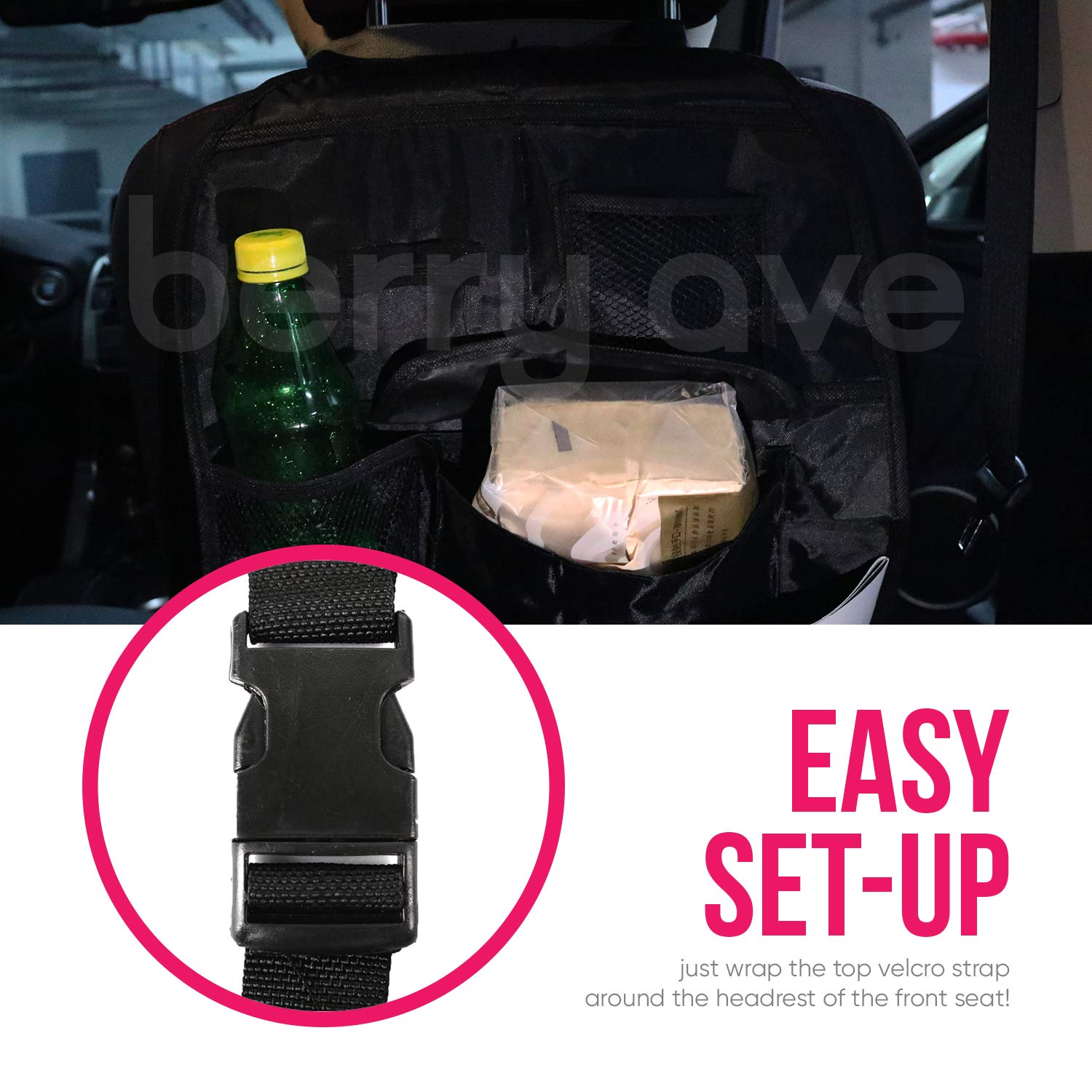 Drinks Tablets and More Car and Truck Seat Organizer with Large Storage and Protection Berry Ave Backseat Organizer Backseat Car Storage with 12 Compartments for Holding Food Toys