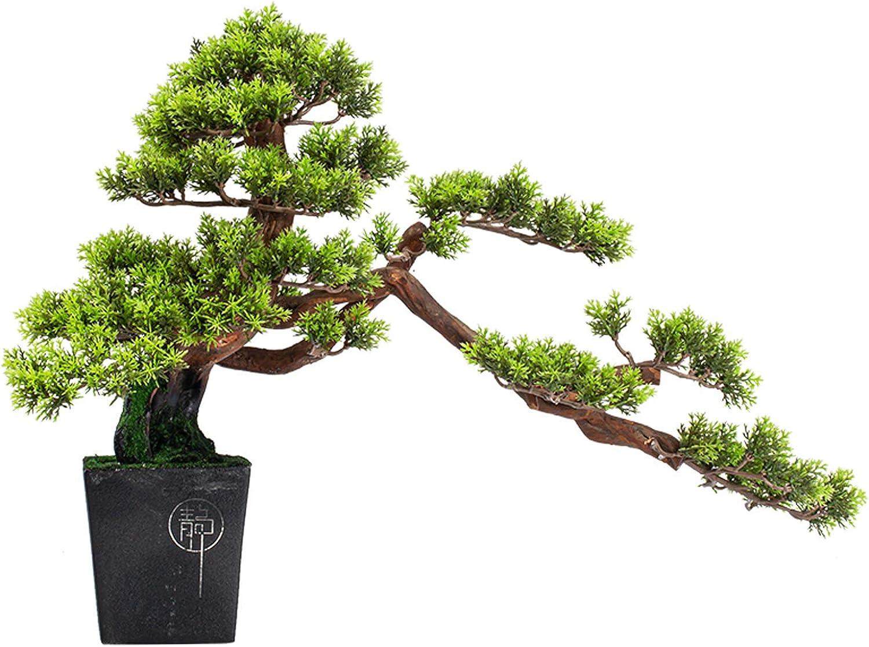 Bonsái artificiales Árbol de bonsái artificial en maceta de cerámica de madera de madera raíz de la raíz de la bodega de pino bonsai interior plantas artificiales zen adornos para la oficina en casa d