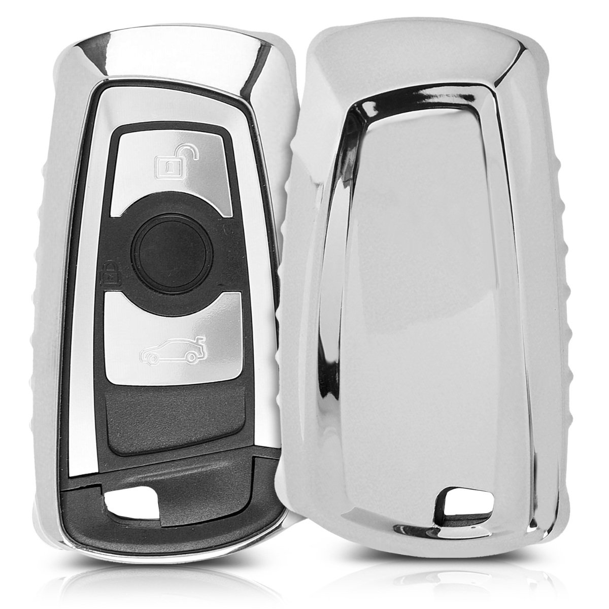 solamente Keyless Go dorado brillante TPU de Cover de mando y control de auto en para llaves suave kwmobile Funda para llave con control remoto de 3 botones para coche BMW - Carcasa