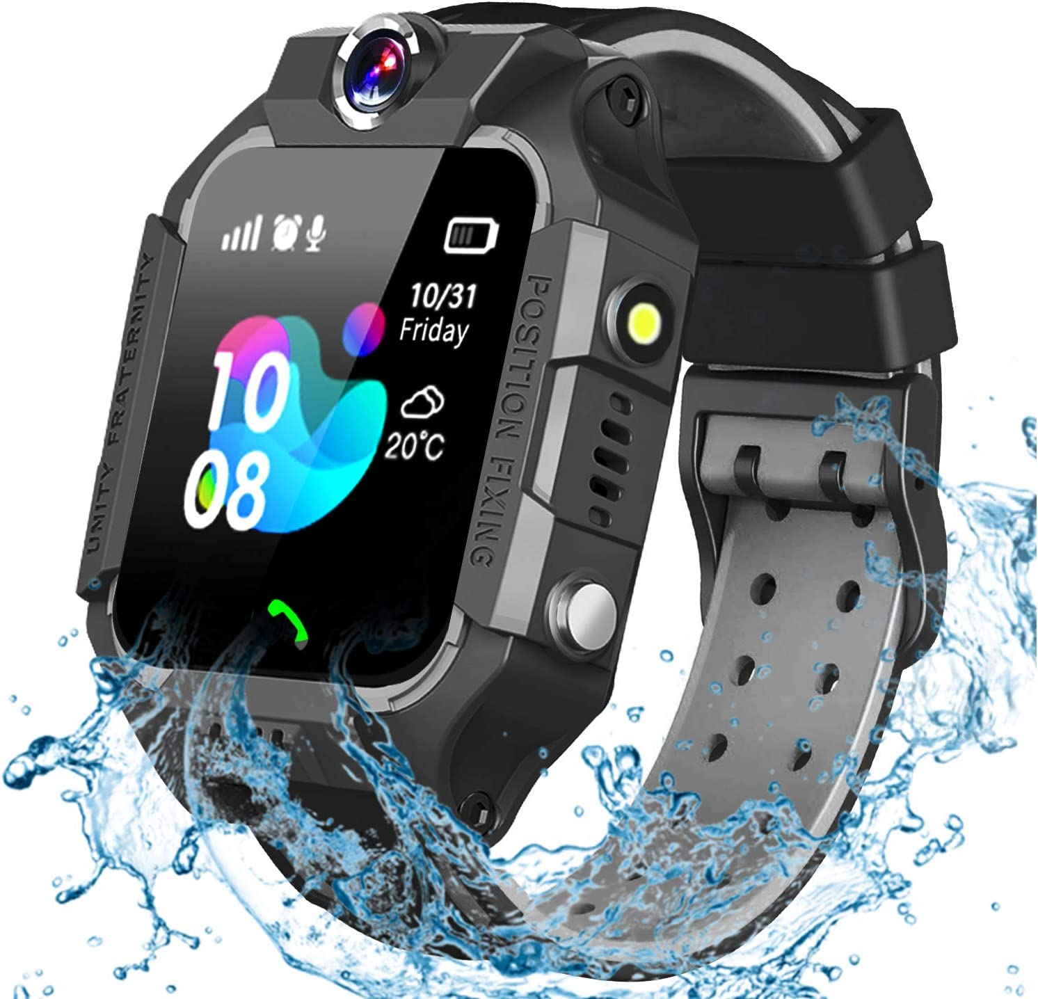 GBD Smart Watch for Kids-IP67 Waterproof Smartwatch Phone with Call Games Alarm Clock Music Video 12/24 Hr, Kids Digital Wrist Watch Stopwatch for Children Boys Girls Age 3-12 Learning Toys (Black)