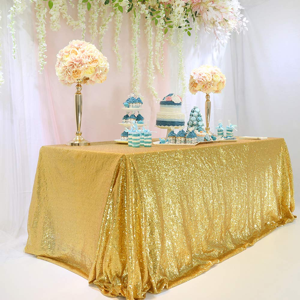 TRLYC 60 x 120-Inch Rectangular Sequin Tablecloth Gold