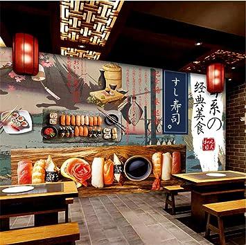 LWATML Japonés Ukiyo-E Mural Sushi Tema Papel Pintado 3D Cocina ...