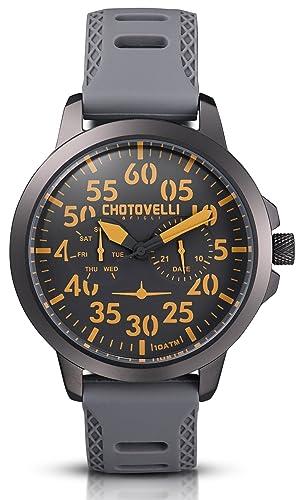 Chotovelli Aviador - Reloj para hombre - multi función - correa de caucho gris 33.15: Amazon.es: Relojes