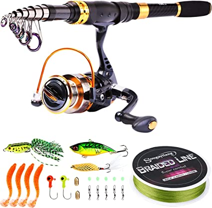 Amazon Com Sougayilang Fishing Rod Reel Combos Carbon Fiber Telescopic Fishing Pole With Spinning Reel For Travel Saltwater Freshwater Fishing Sports Outdoors