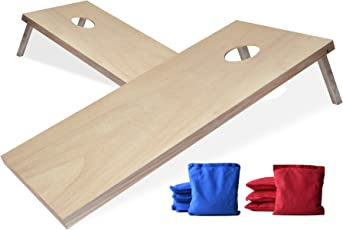 Wonderful EXERCISE N PLAY Solid Wood Premium Cornhole Set,Portable Custom Regulation  Size Cornhole Boards With