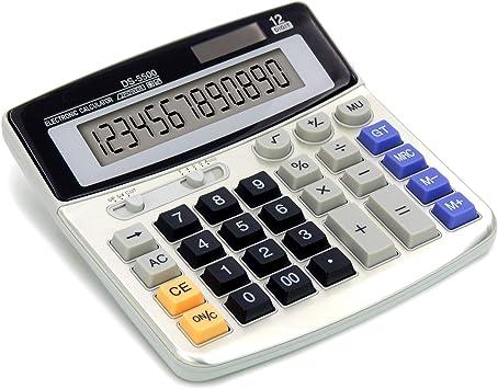 OFFIDIX Office Calculators Desktop Calculator,Basic Calculators, Solar Battery Dual Power Electronic Calculator Portable 12 Digit Large LCD Display Calculator Large Calculator