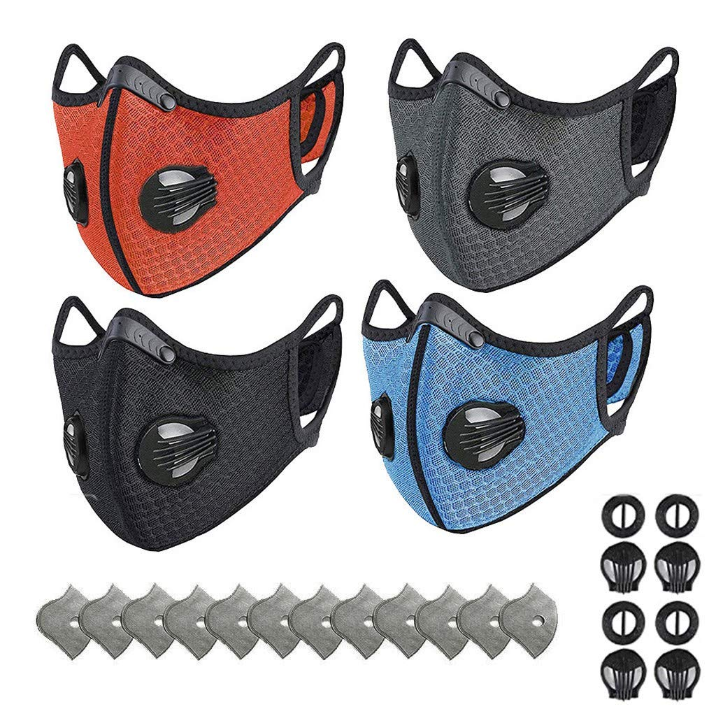 20PC Adult Mask_Mascarillas Facial Filtros Tejido Algodón Lavable Reutilizable Válvula Respiración Inserto Bolsillo Protección Ocular Protección Contra Polvo Campamento Ciclismo Estampado Moda