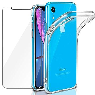 c7201adb529 Funda + Cristal para iPhone XR, Leathlux Transparente TPU Silicona [Funda +  Vidrio Templado