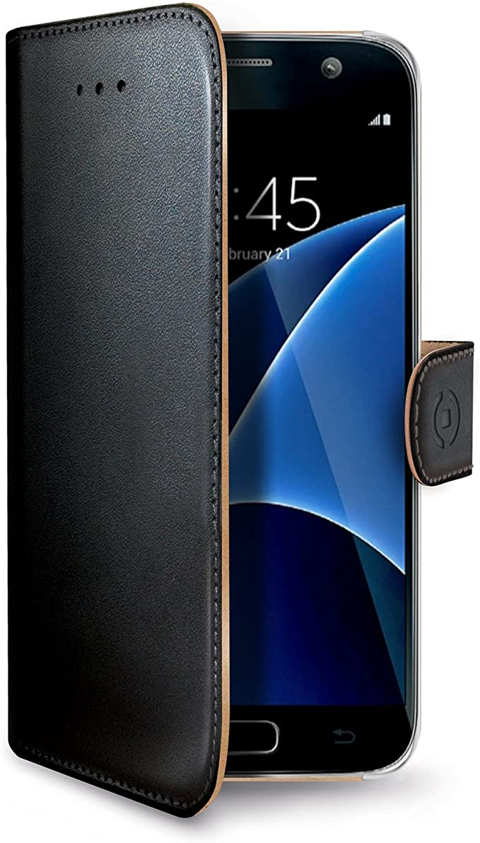 Celly Funda Libro Samsung Galaxy S7, Carcasa de Piel sintética con Cierre Magnético, Tarjetero y Función Soporte, Negro: Amazon.es: Electrónica