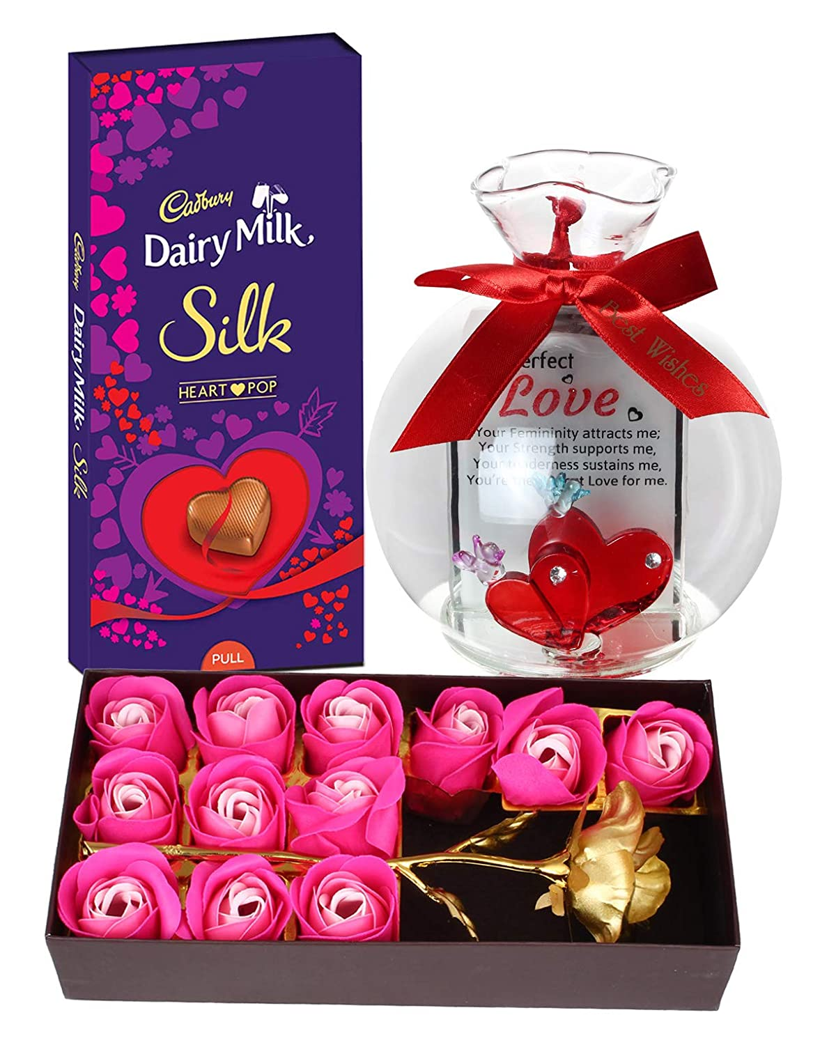 Natali Valentine S Day Chocolates Gift For Girlfriend Dairy Milk Silk Chocolate Love Quotation Glass Jar With Artificial Rose With 12 Pcs Roses Love Special Gift For Girlfriend Wife Fiancee Girls Amazon In Grocery Gourmet Foods