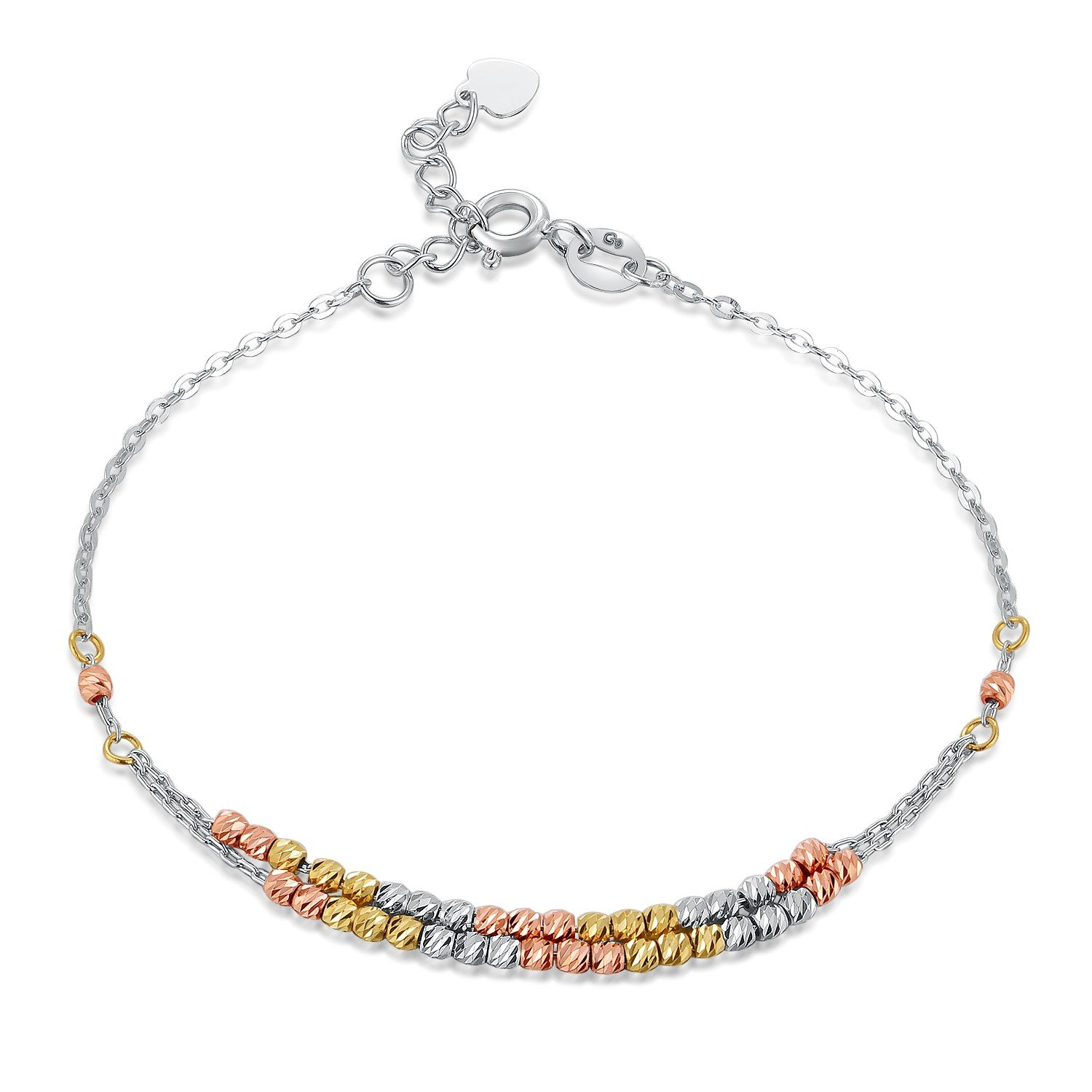 MaBelle 14K Tri-Color Gold Yellow, Rose & White Beads Double Anchor Chain Bracelet (6.5'')