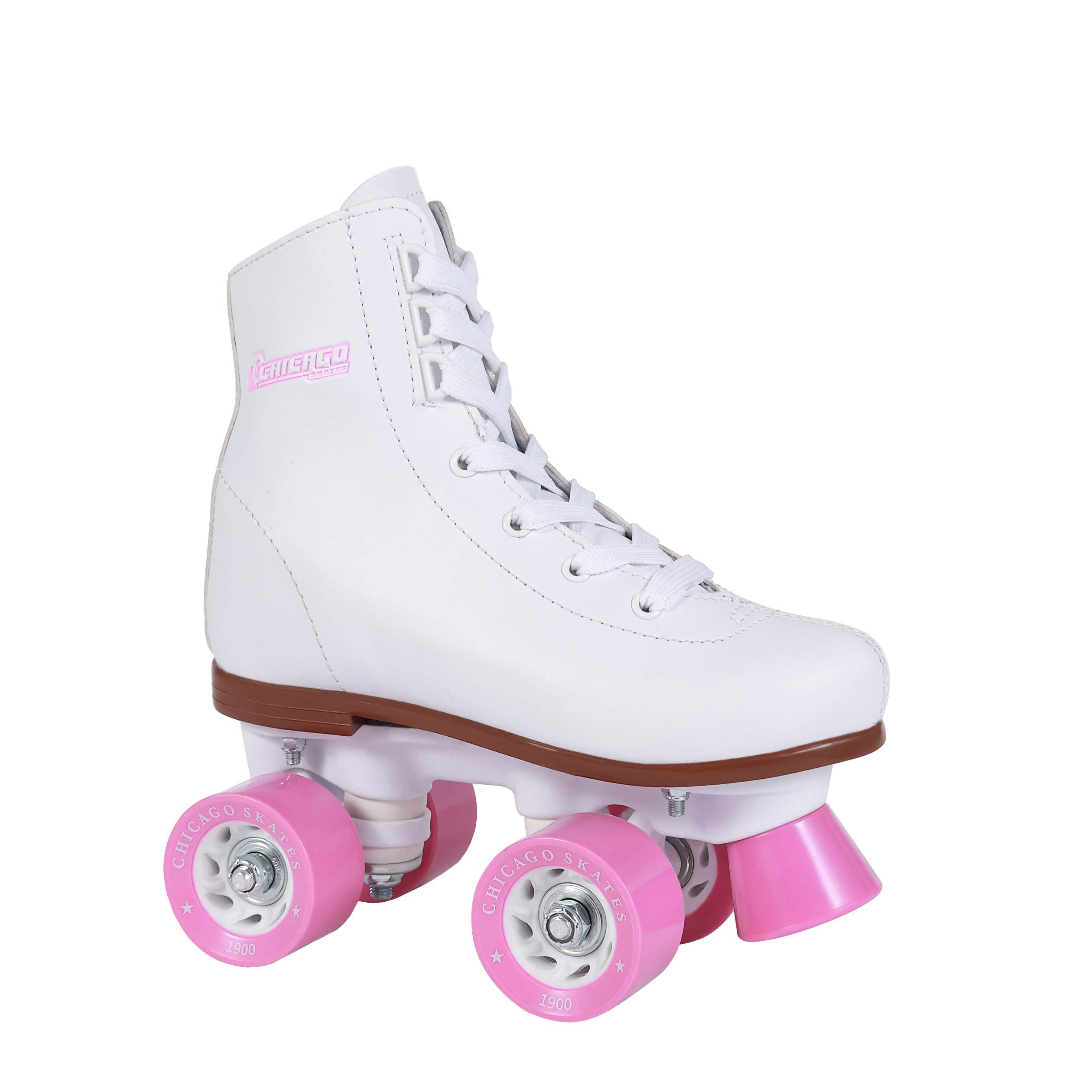 Chicago Girl's Classic Roller Skates - White Rink Quad Skates - Size Youth J11