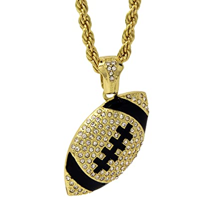 Mens hip hop 14k gold plated iced out cz football pendant rope mens hip hop 14k gold plated iced out cz football pendant rope chain 30quot aloadofball Images