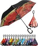 BAGAIL Double Layer Inverted Umbrella Reverse Folding Umbrellas Windproof UV Protection Big Straight Umbrella for Car…