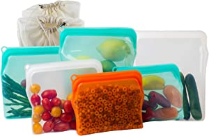BluePerlOne Plastic Free Silicone Zip Lock Reusable Container Bags/Reusable Cooking Bags 6 Silicone Bags Two of (½ Gal, Large, and Medium) + 2 Complementary Cotton Mesh bags - Bundle 6 Bags
