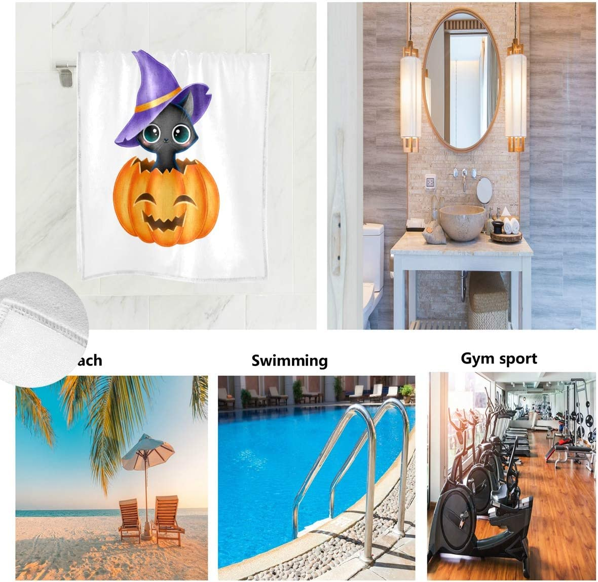 Not Applicable Pumpkin in A Witch Hat Halloween Face Towel,Hand Towel,Kitchen Towels-Dish 3D Design Pattern Towel,Towels for The Kitchen,Cleaning,Cooking,Baking