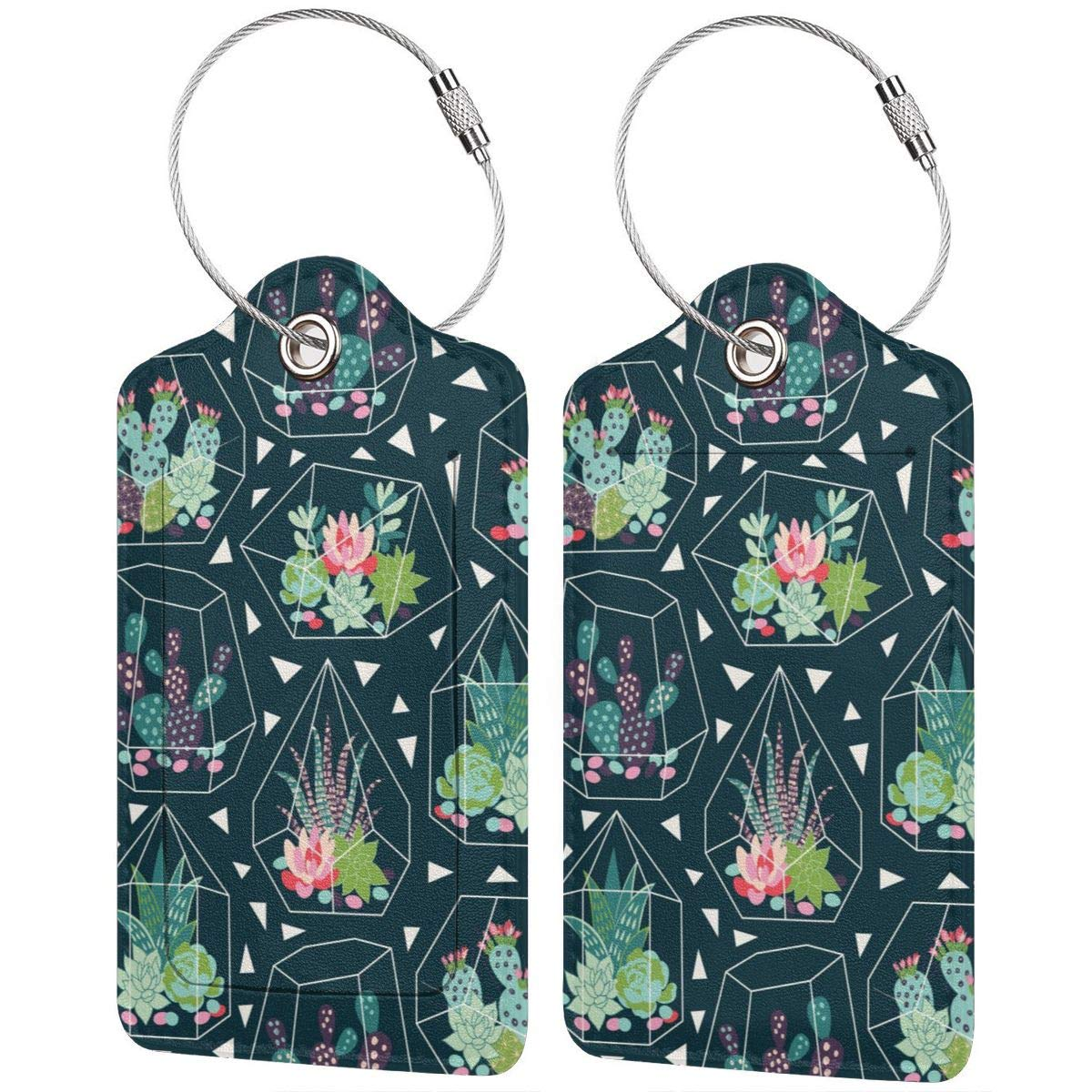 GoldK Succulents and Cactuses Leather Luggage Tags Baggage Bag Instrument Tag Travel Labels Accessories with Privacy Cover