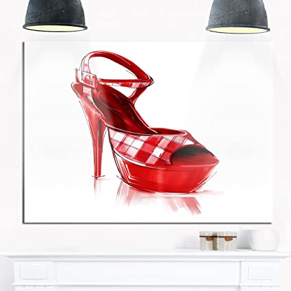 Image Unavailable. Image not available for. Color  Designart Red High Heel  Women s Shoe Modern Glossy Print Metal Wall Art ... 3fd73e57d3