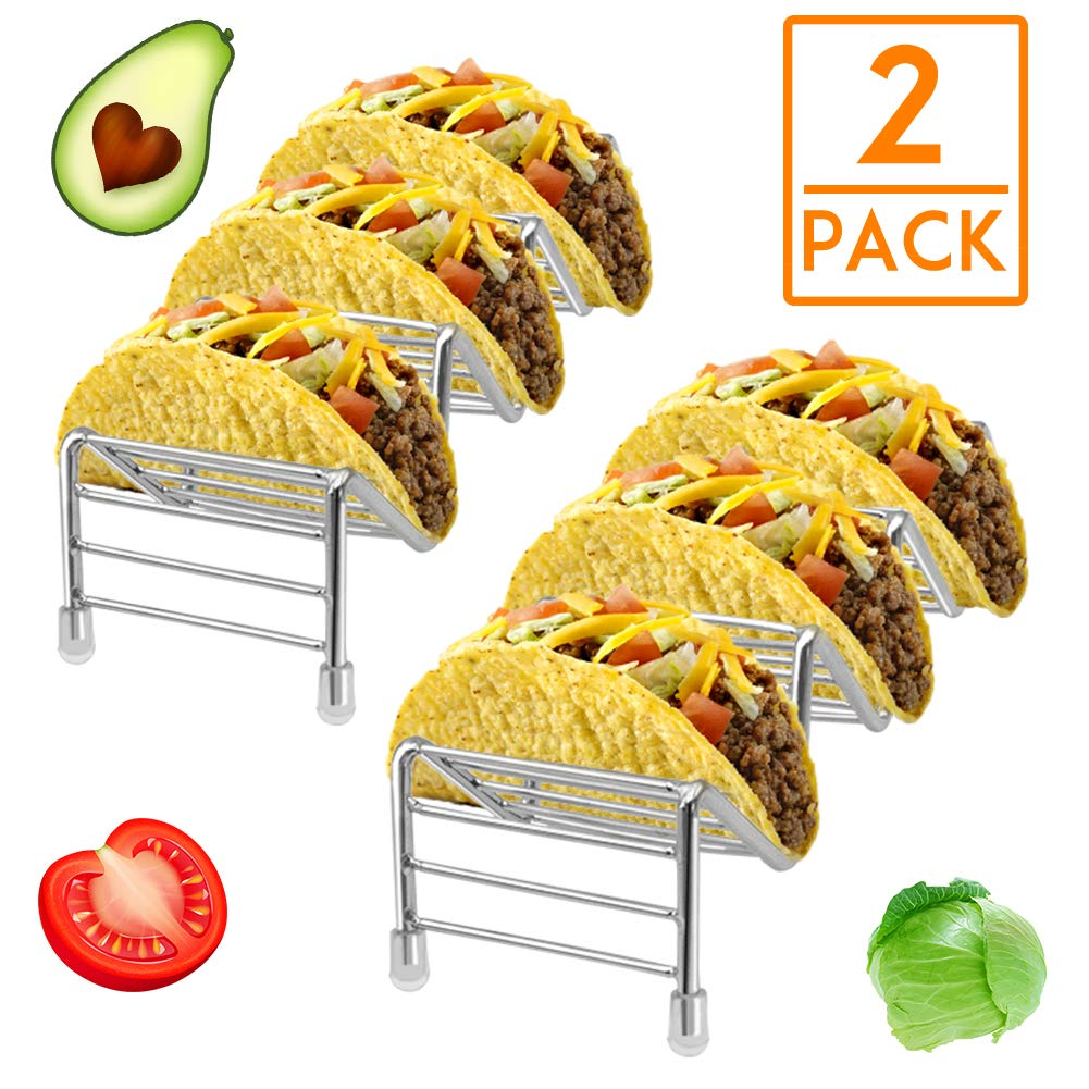 HR 2 Pack Stainless Steel Taco holder stands hold 6 to 8 Hard or Soft Taco Shells Taco Truck Tray Style,Oven Safe for Baking, Dishwasher