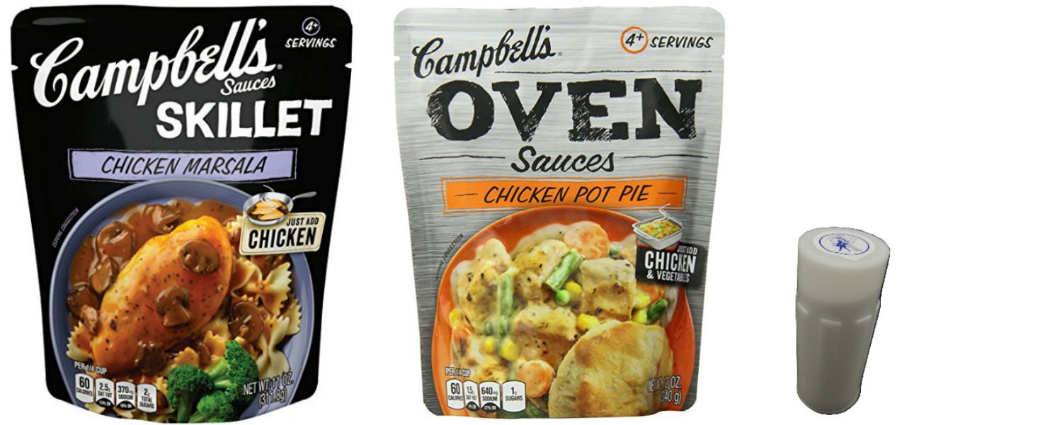 Campbells Oven and Skillet Sauces For Chicken Combo. Chicken Marsala Sauce and Campbells Oven Chicken Pot Pie. Easy to Prepare Healthy Chicken Dinners. Includes 4 oz Salt Shaker.