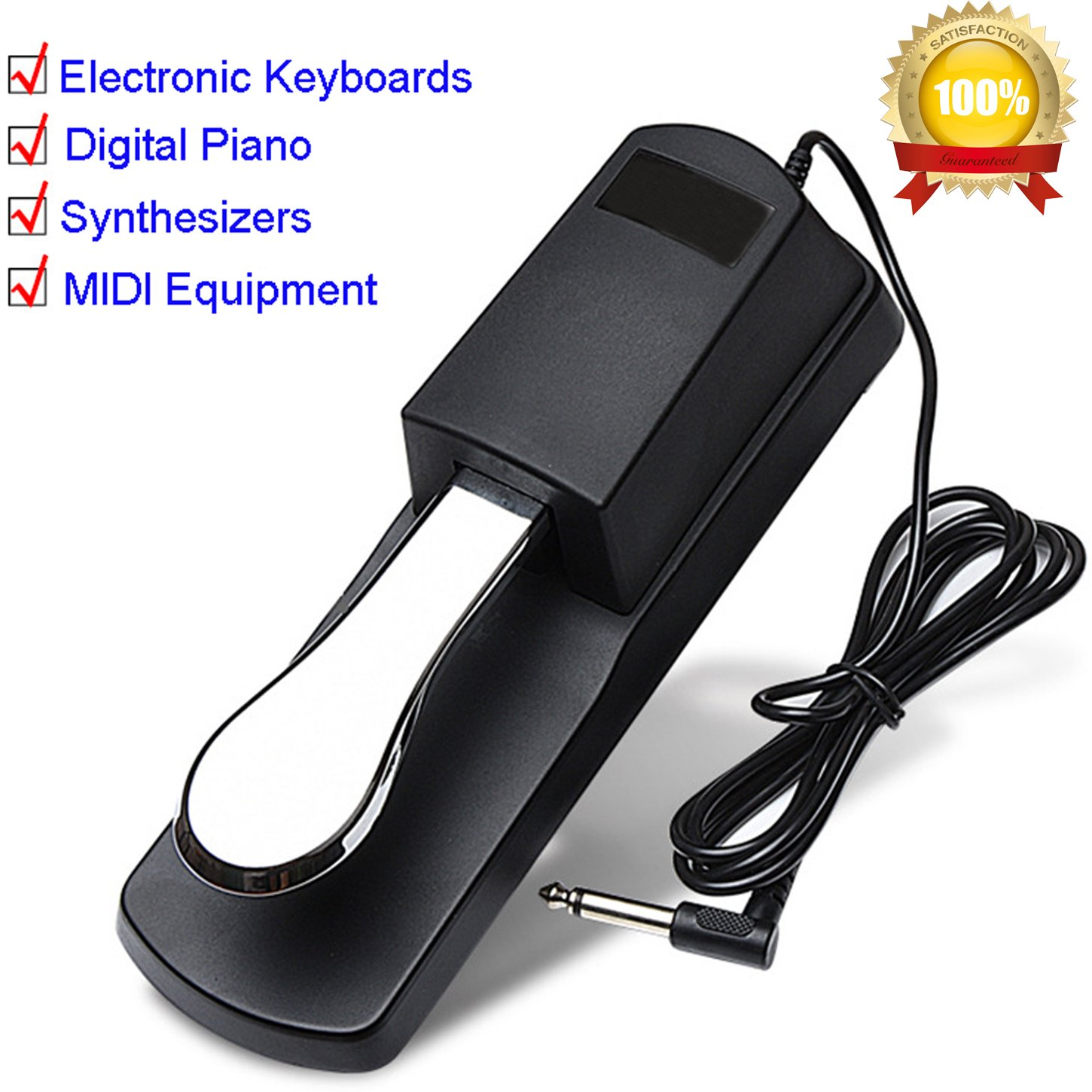Sustain Pedal Foot Pedal Keyboard Piano MIDI Drum Machines Universal Metal Parts (Black)