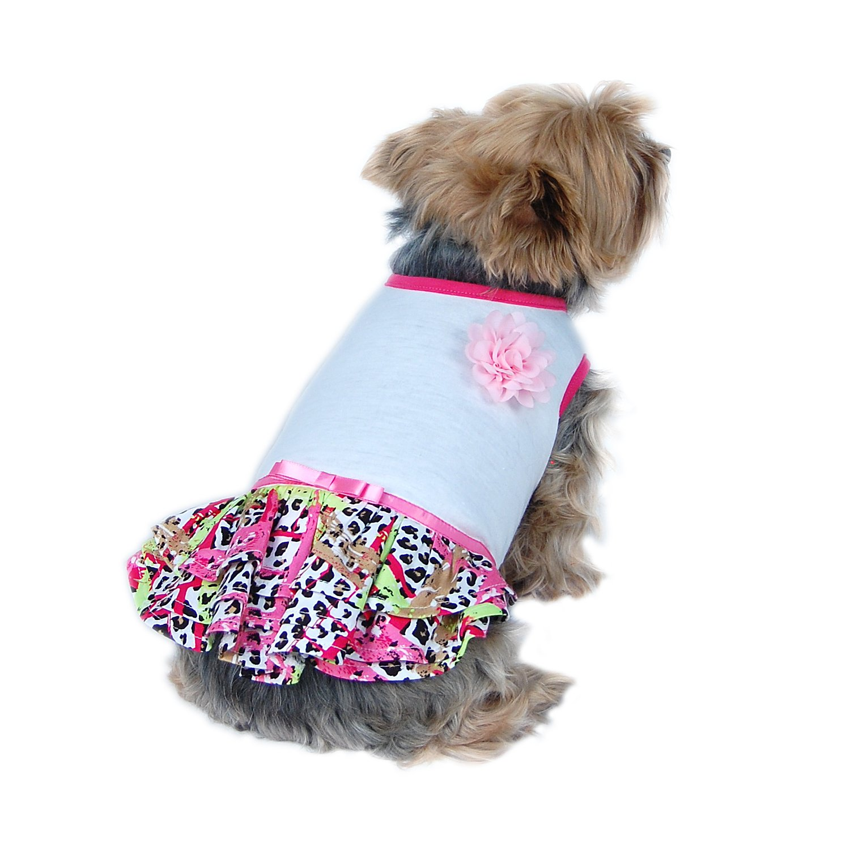 Anima Neon Leopard Print Dog Dress - Pink XS