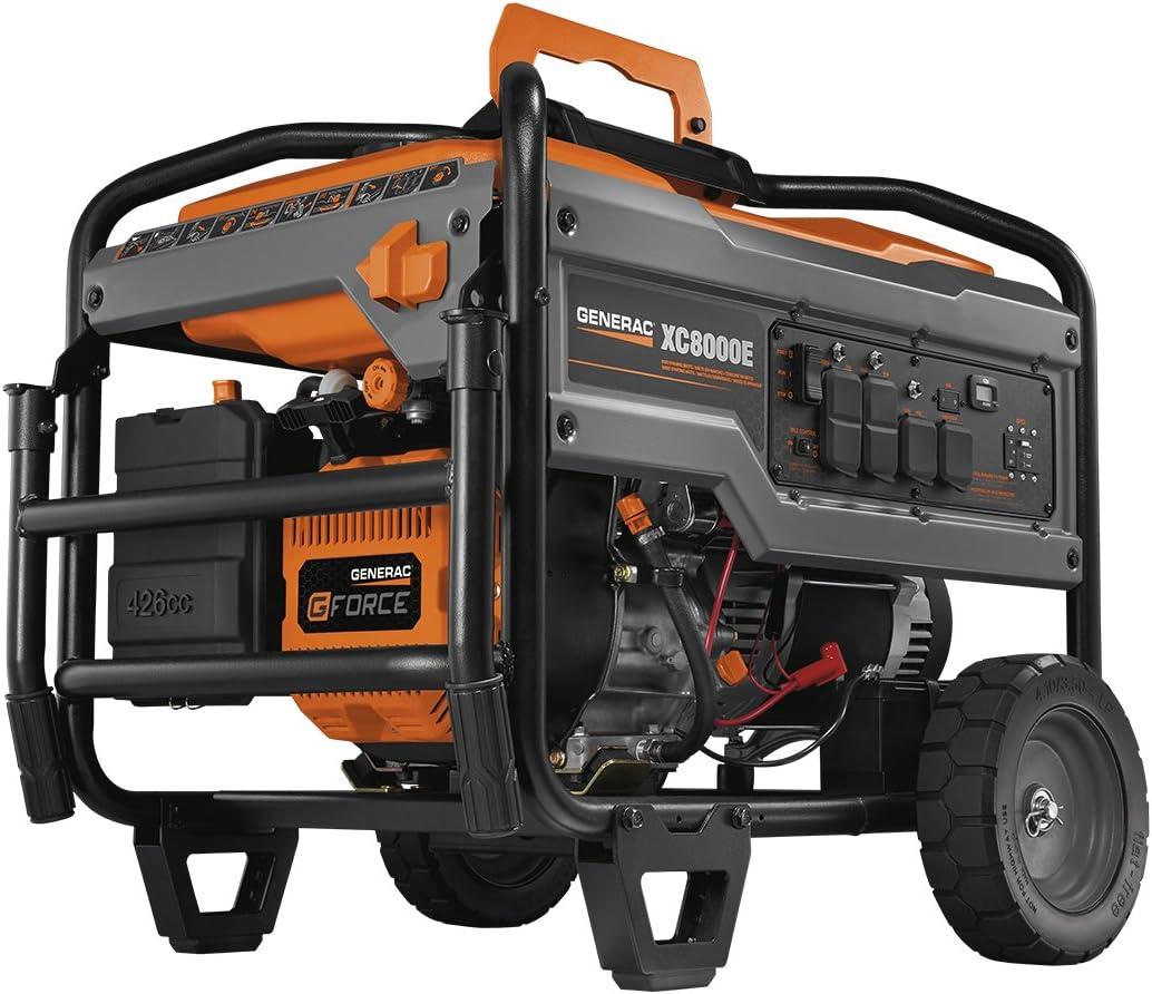 Generac 6827 XC8000E 8,000 Running Watts 10,000 Starting Watts Electric Start Gas Powered Portable Generator – CARB Compliant