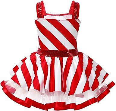 Haitryli Kids Girls Shiny Sequins Striped Figure Ice Skating Dress Christmas Party Dance Leotard Dress