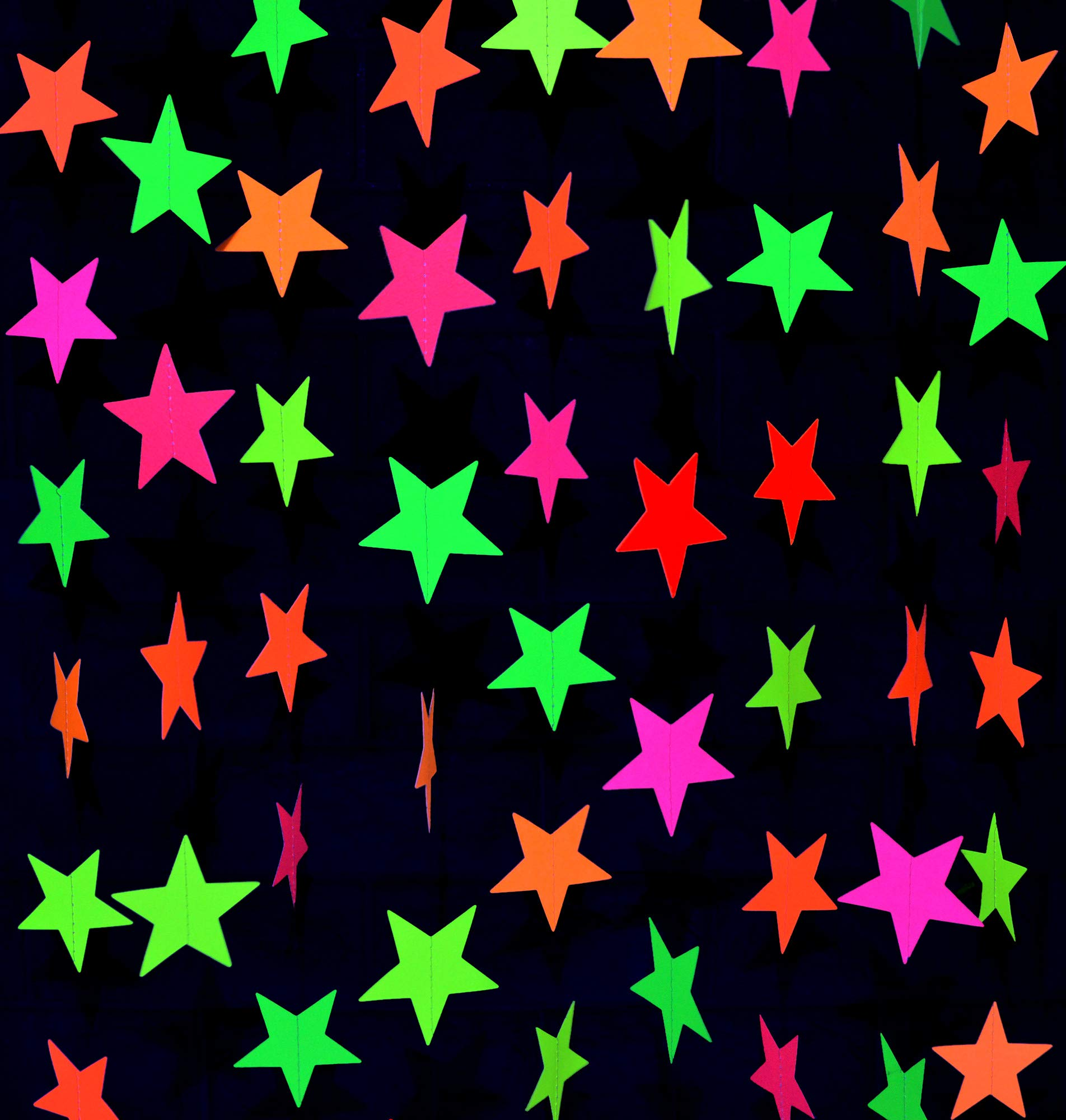 Midnight Glo Black Light Party Supply 78ft Neon Star Garland Hanging Decorations for Birthday Party Wedding Decorations Black Light Reactive UV Glow Party (6 Pack) by Midnight Glo