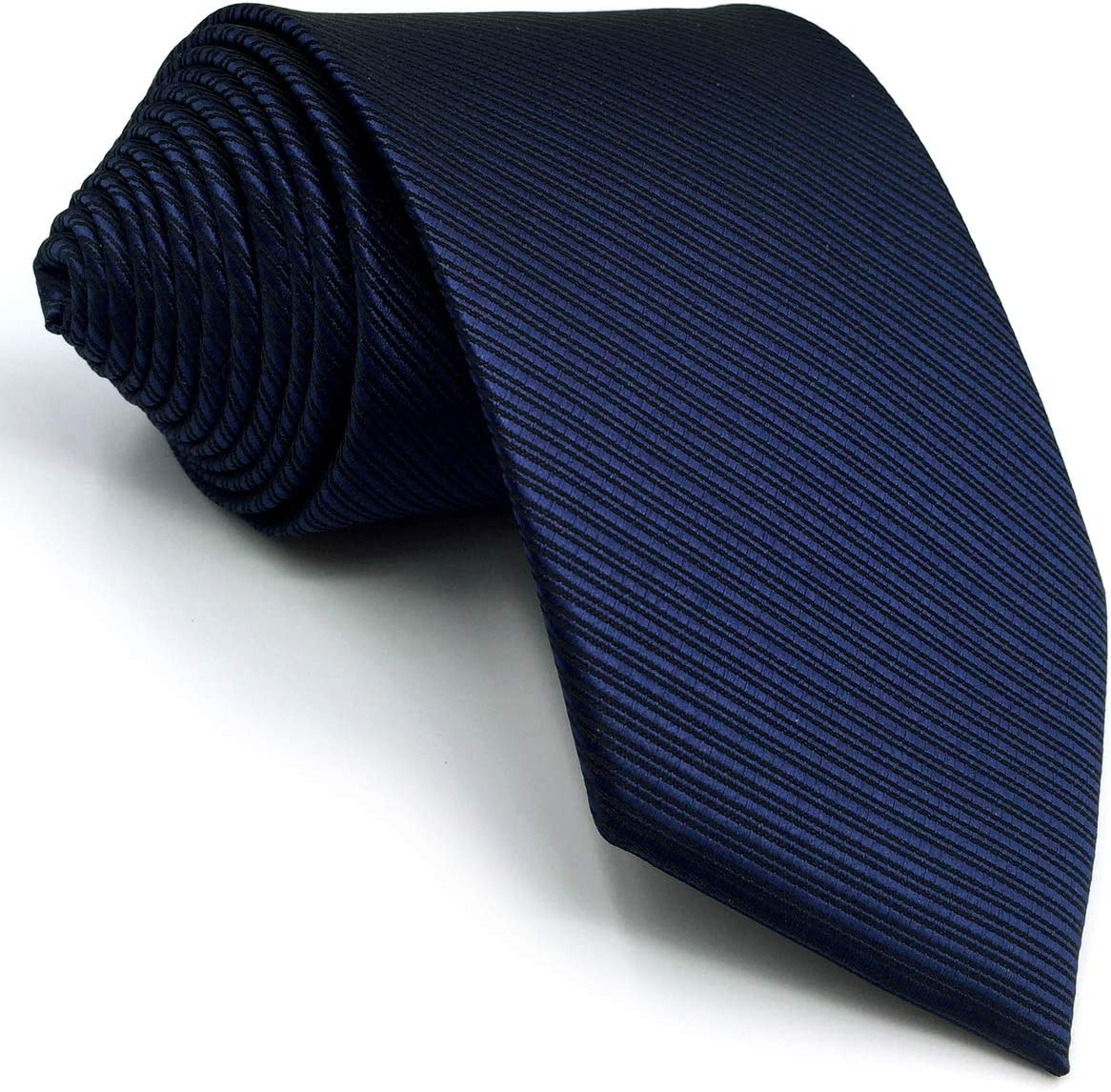 S/&W SHLAX/&WING Mens Neckties Solid Blue Navy for Suit Tie Silk 63