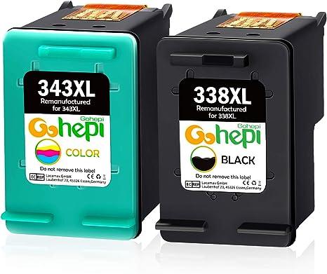 Gohepi 338XL 343XL Cartuchos de tinta Remanufacturado HP 338 343 ...