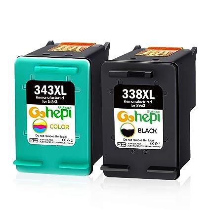 Gohepi 338XL 343XL Cartuchos de tinta Remanufacturado HP 338 343 Compatible para HP Photosmart 8150 2575 C3180,HP PSC 1610 2350 2355,HP Deskjet ...