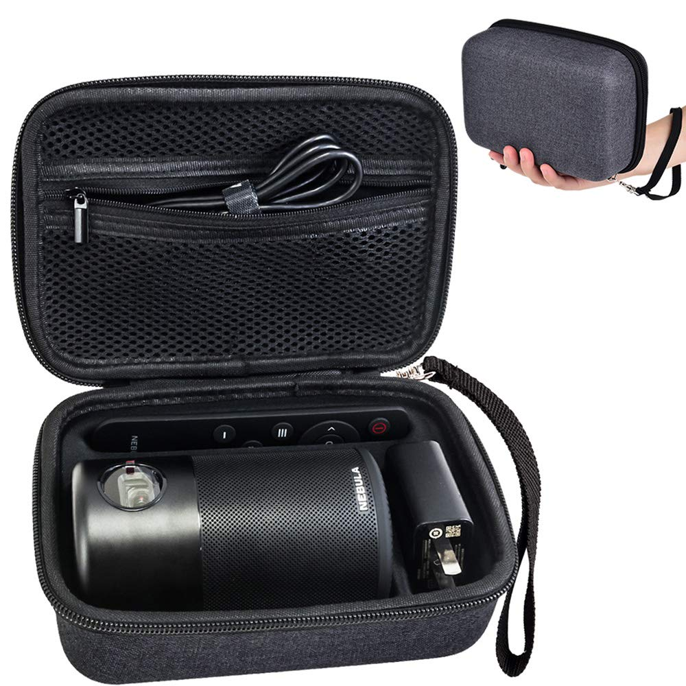 PAIYULE Portable Hard Protective Case Bag for Anker Nebula Capsule Projector, Smart Portable Wi-Fi Mini Projector with Hand Strap - Navy Gray