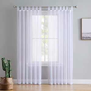 """HLC.ME White Tab Top 54"""" inch x 84"""" inch Long Window Curtain Sheer Voile Panels for Living Room & Bedroom, Set of 2"""