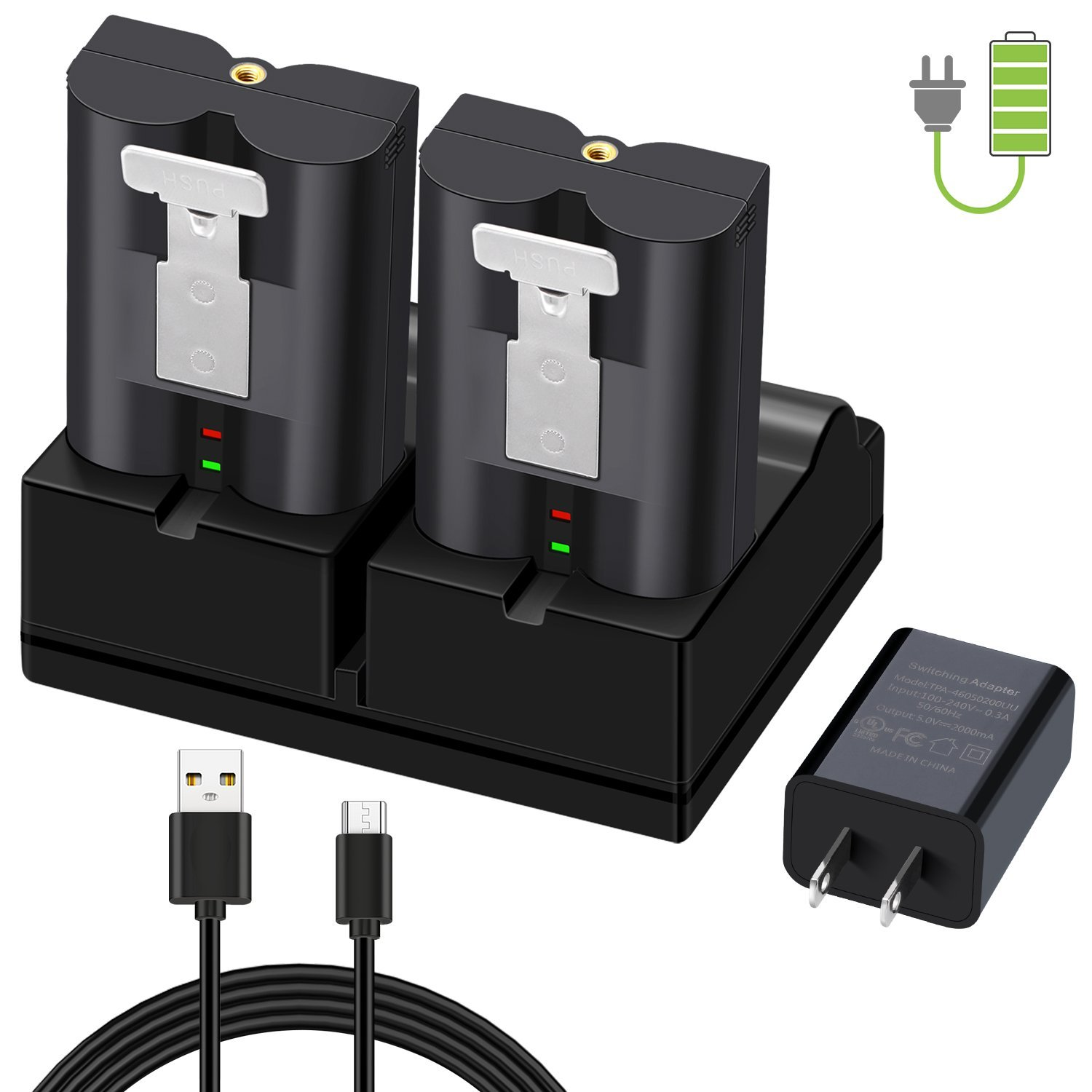 Charging Station for Ring Video Doorbell 2, Ring Spotlight Cam Battery Rechargeable Batteries, Charge Up to 2 Ring Batteries at The Same Time (Battery NOT Include)