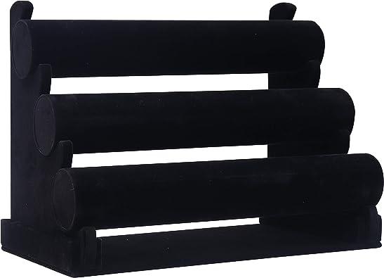 Soporte Almacenar Joyas para Pulseras Negro Expositor de Joyas 3 Niveles Tama/ño 31x18x26cm Expositor de terciopelo con Barras Desmontables Brazaletes y Relojes Organizador de Pulseras LxPxA