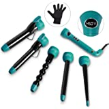 Curling Iron and Wand Interchangeable Set - 5in1 with Professional Ceramic Barrels, Dual Voltage, 1-1.25 Inch Clip, 3/4 Inch Clipless, Bubble, Pearl, Tapered Hair Curler for Women with Waves Entil