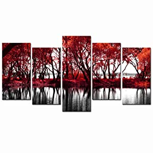 LevvArts - Black and White Red Canvas Wall Art Red Tree Forest by Lake Pictures Autumn Landscape Painting Modern Home Decor Giclee Artwork Stretched and Framed Ready to Hang