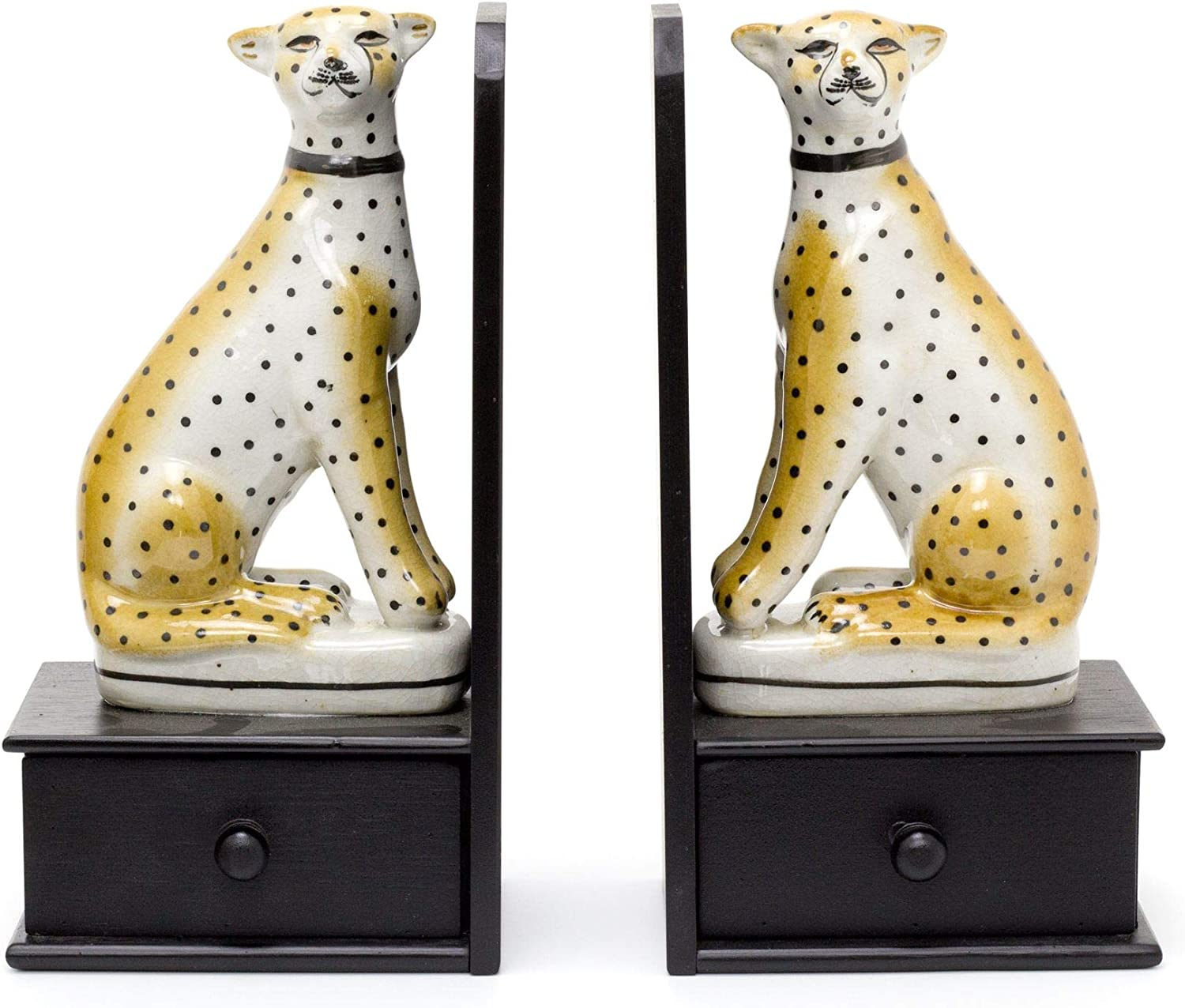 Carousel Home Gifts Vintage Safari Leopard Bookends Retro Animal Statue Book End Wildlife Book Stopper